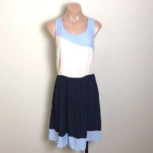 Skies are Blue Stripe Navy Light Blue Cream Dress